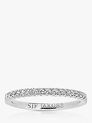 Sif Jakobs Jewellery Elra Cubic Zirconia Band Ring, Silver