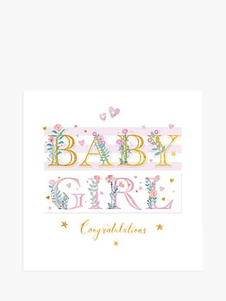 Woodmansterne Baby Girl Foliage New Baby Card
