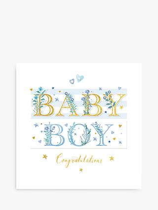 Woodmansterne Baby Boy Foliage New Baby Card