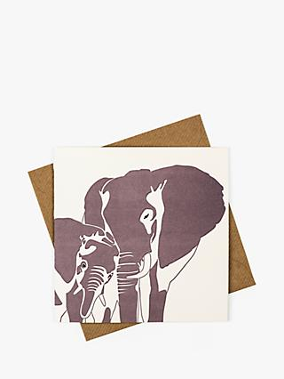 Penguin Ink Elephant and Baby Blank Greeting Card