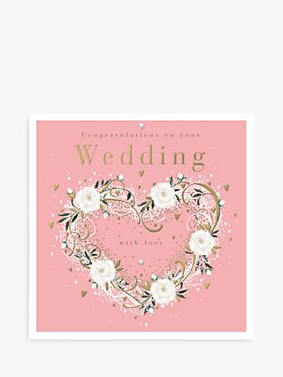 Woodmansterne Rose Heart Wreath Wedding Card
