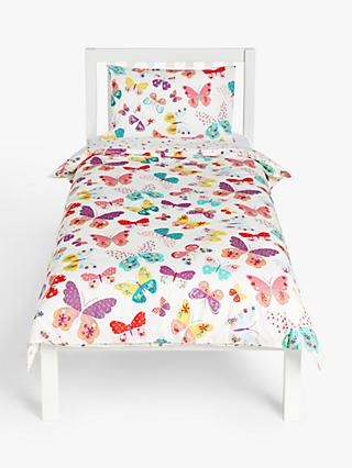 little home at John Lewis Butterflies and Ditsy Print Reversible Duvet Cover and Pillowcase Set, Single, Multi