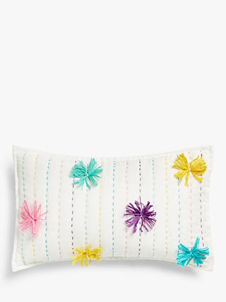 little home at John Lewis Pom Pom Cushion, Multi