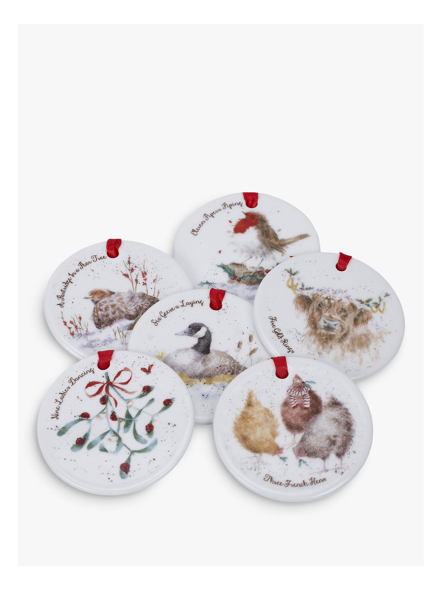 Buy Wrendale Designs 12 Days Of Christmas Tree Baubles, Set of 12, Assorted Online at johnlewis.com