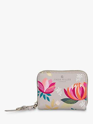 Sara Miller Peony Floral Print Small Zip Around Purse, Grey