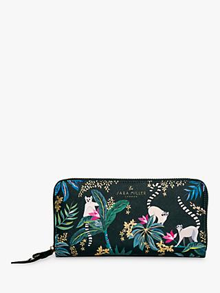 Sara Miller Lemur Print Large Zip Around Purse
