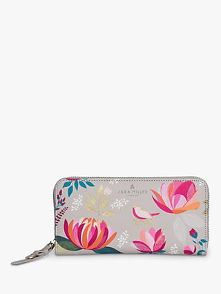 Sara Miller Peony Floral Print Large Zip Around Purse, Grey