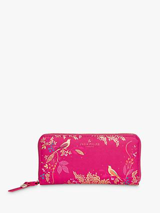 Sara Miller Hummingbird Print Large Zip Around Purse, Pink