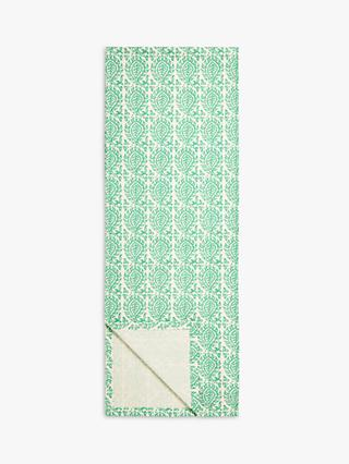 John Lewis & Partners Indian Block Print Table Runner, L250cm, Green