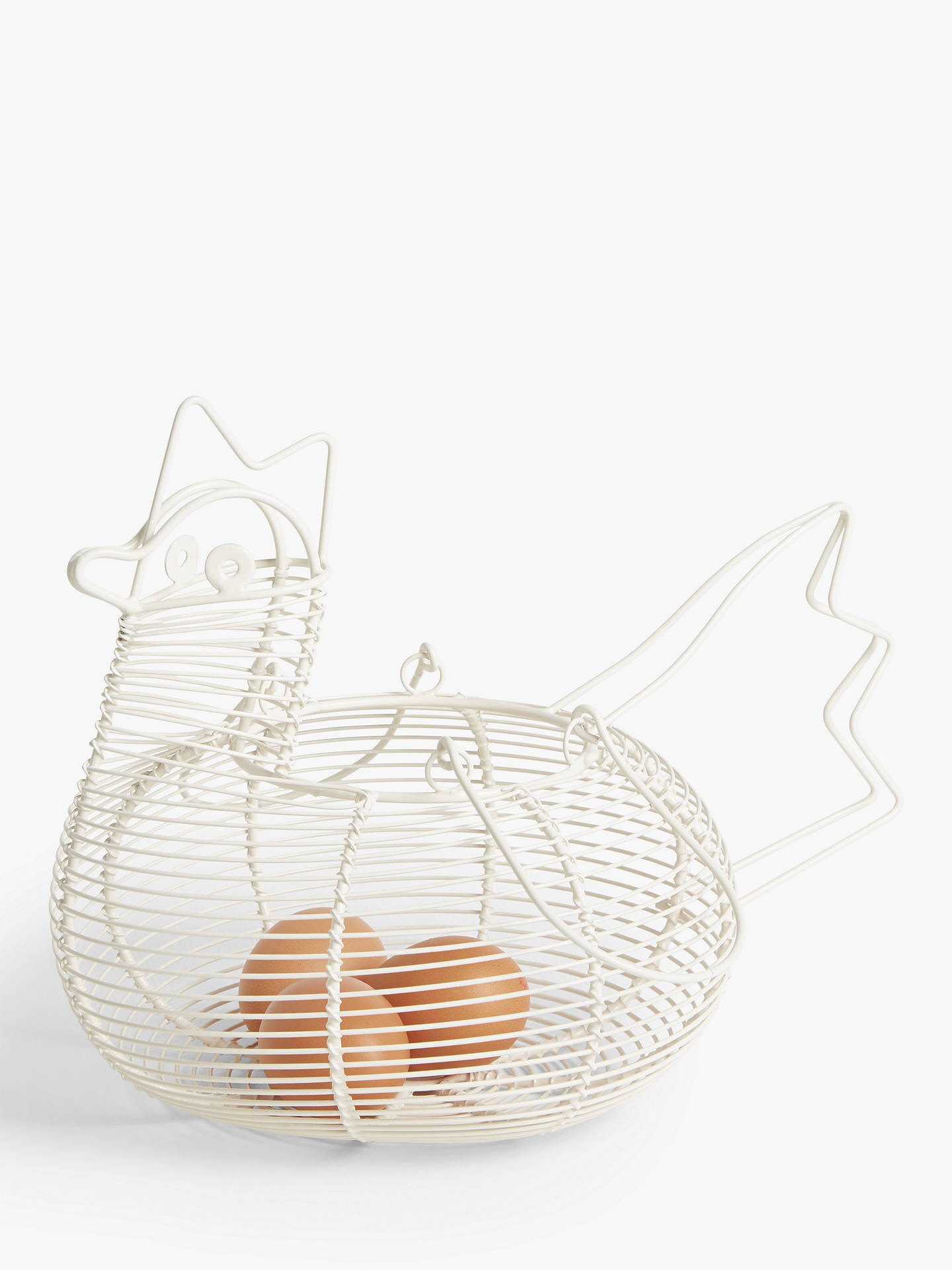 John Lewis Partners Wire Chicken Egg Basket White At John Lewis Partners