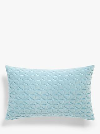 John Lewis & Partners Eave Quilting Cushion, Powder Blue