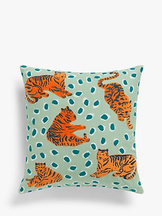 House by John Lewis Tiger Cushion, Green / Multi