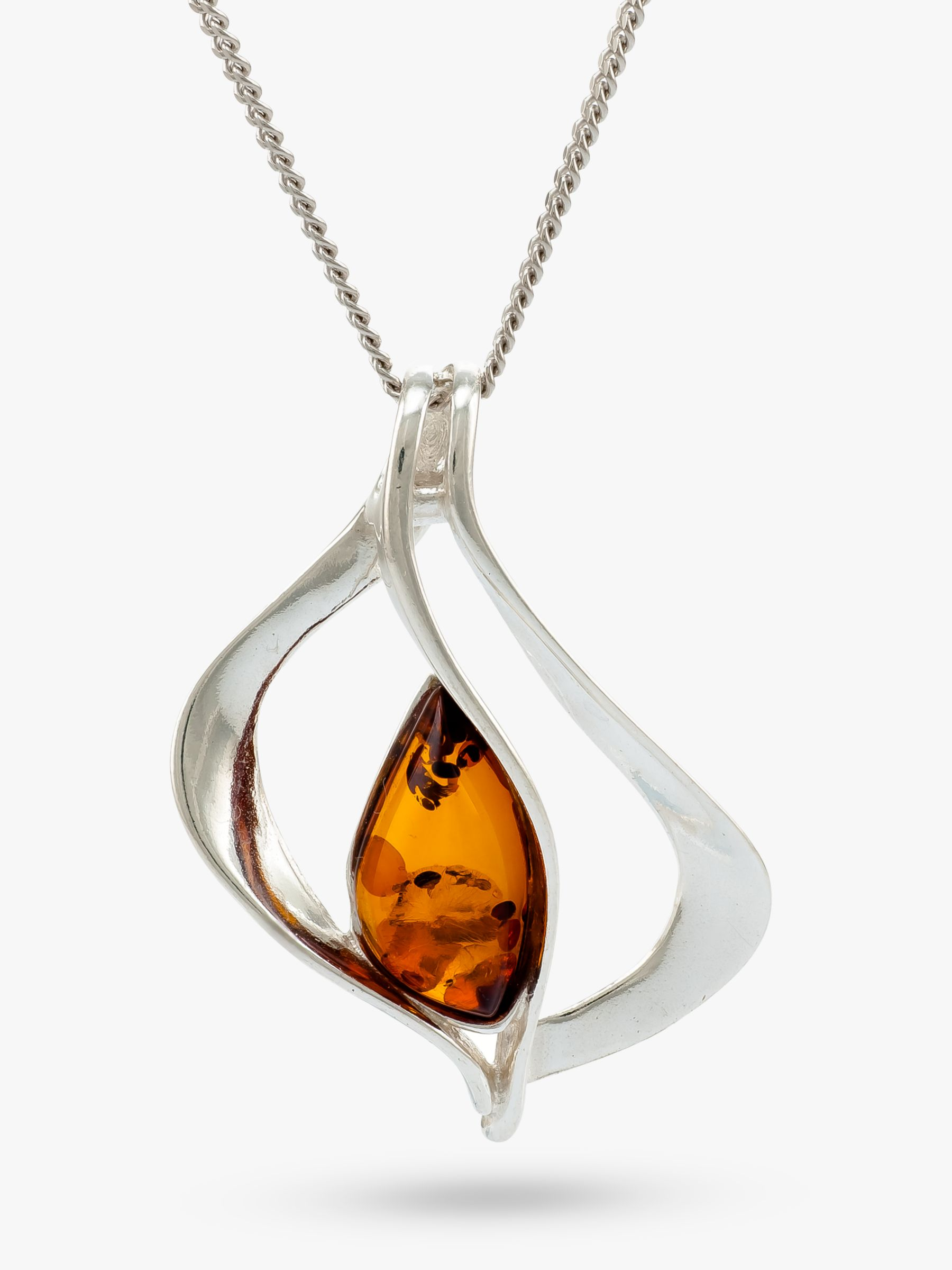 Be-Jewelled Be-Jewelled Baltic Pendant Necklace, Silver/Cognac
