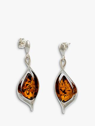 Be-Jewelled Sterling Silver Baltic Drop Earrings, Silver/Cognac