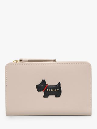 Radley Heritage Dog Medium Leather Zip Purse, Dove Grey