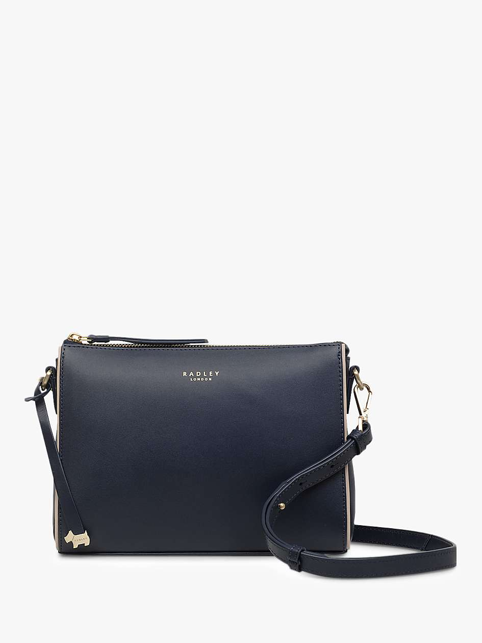 clearance prices quality design buying new Radley Selby Street Leather Small Zip Top Cross Body Bag, Dark Blue