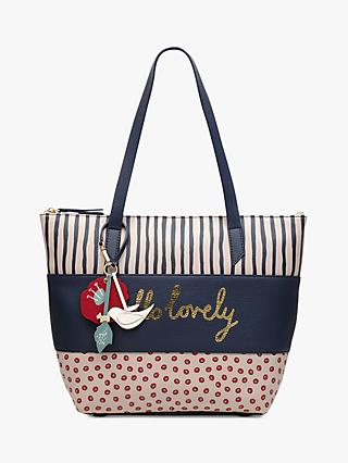 Radley Hello Lovely Leather Tote Bag, Light Natural