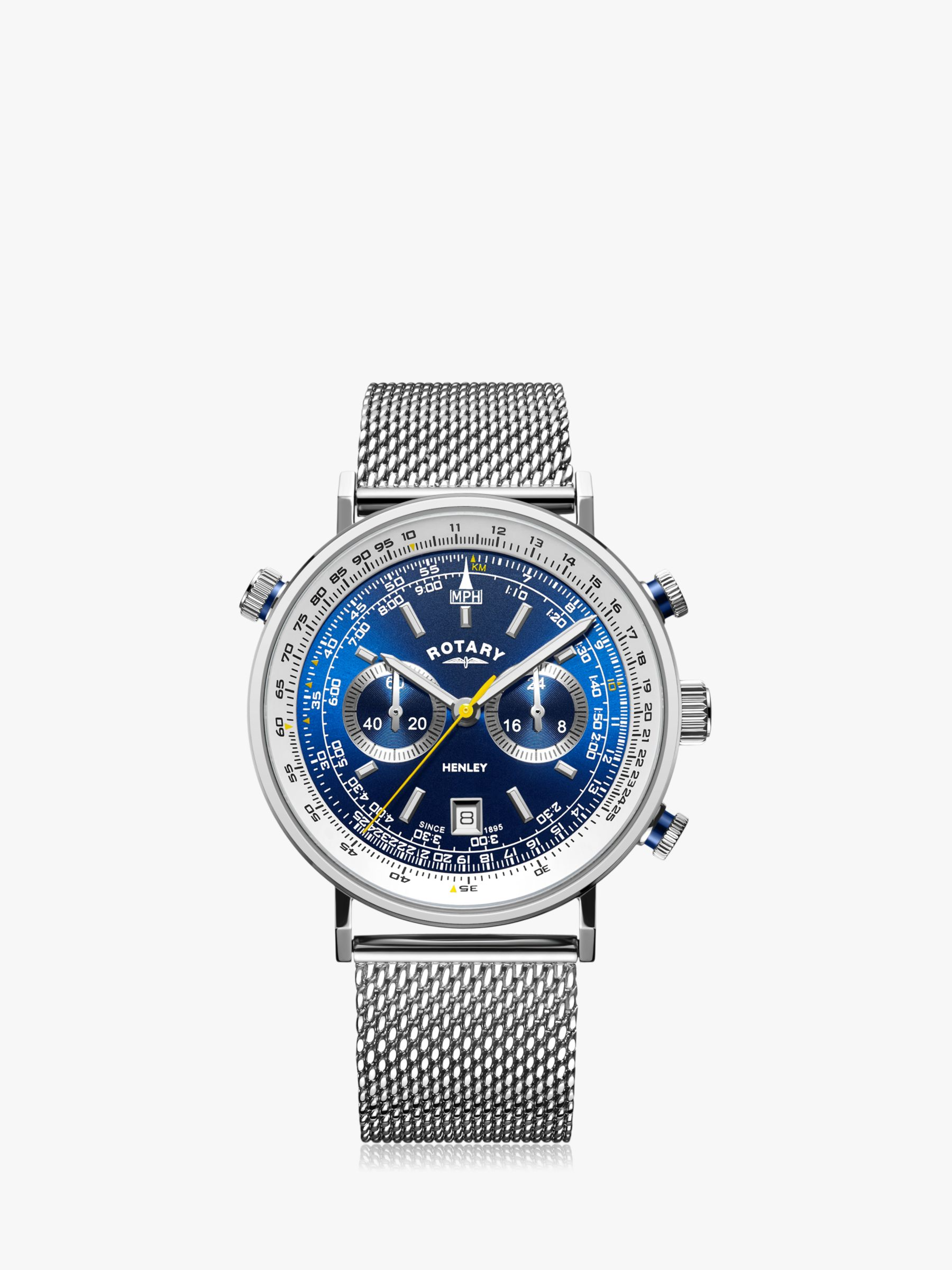 Rotary Rotary GB05235/05 Men's Henley Chronograph Date Mesh Bracelet Strap Strap Watch, Silver/Blue