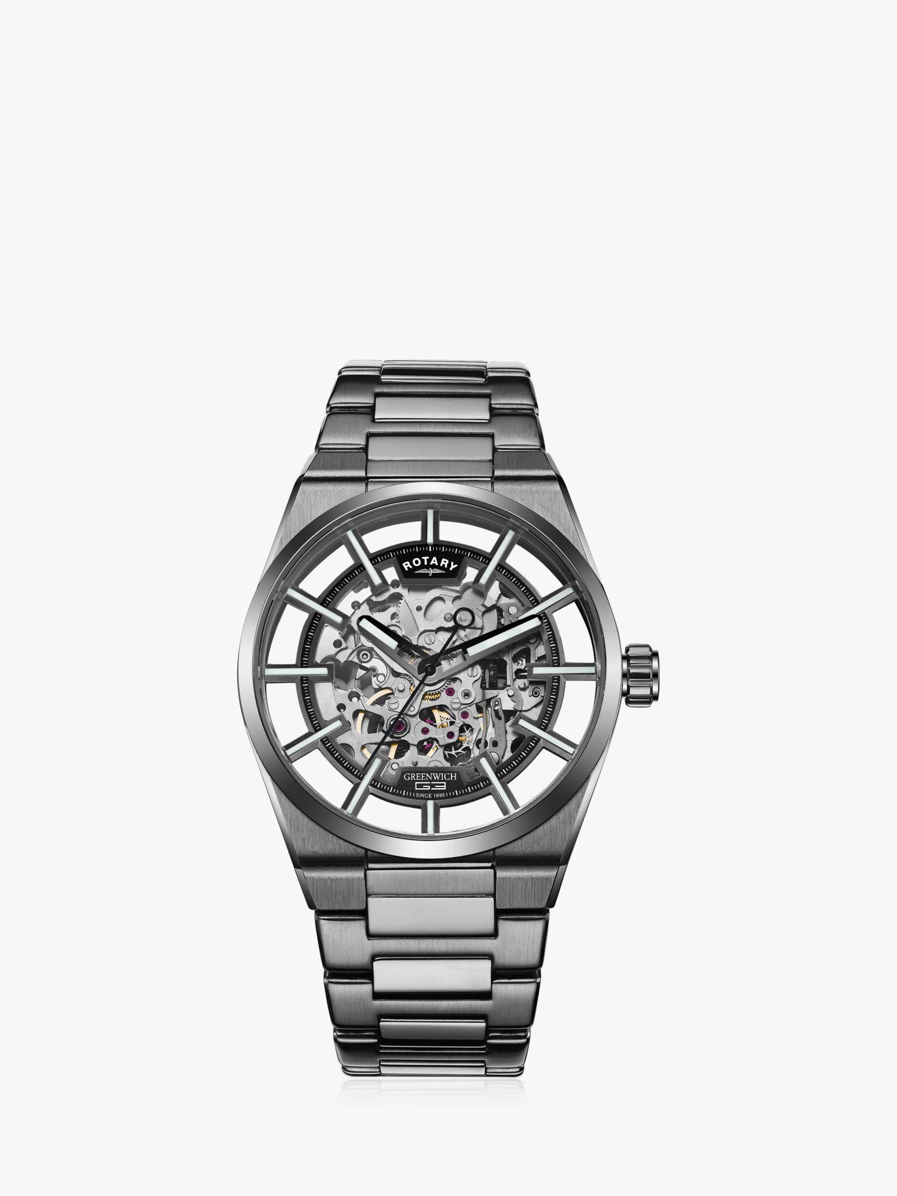 Rotary Rotary GB05215/04 Men's Greenwich Skeleton Automatic Bracelet Strap Watch, Black
