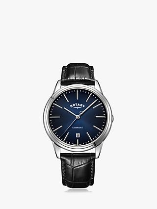 Rotary GS05390/05 Men's Cambridge Date Leather Strap Watch, Black/Blue