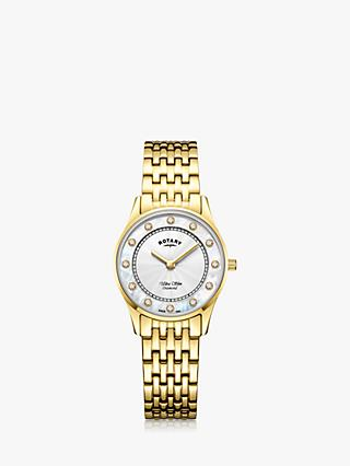 Rotary Women's Ultra Slim Diamond Bracelet Strap Watch