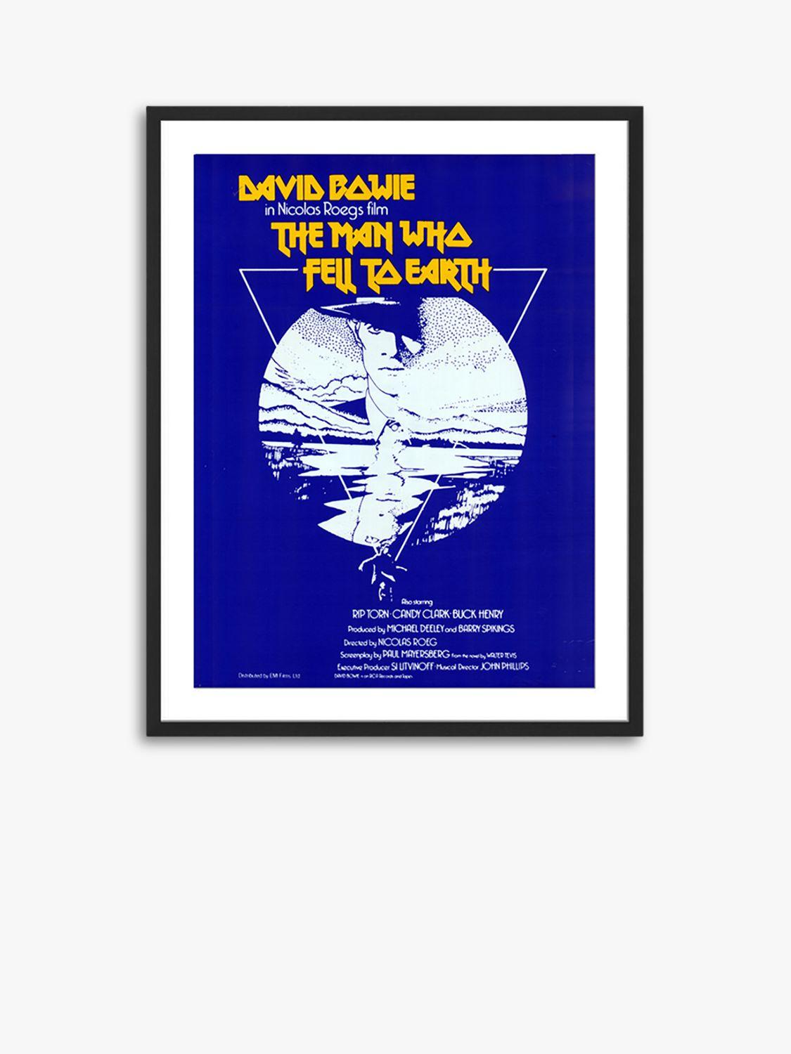 Unbranded The Man Who Fell To Earth - Vintage Film Poster Ash Wood Framed Print & Mount, 82 x 62cm, Blue