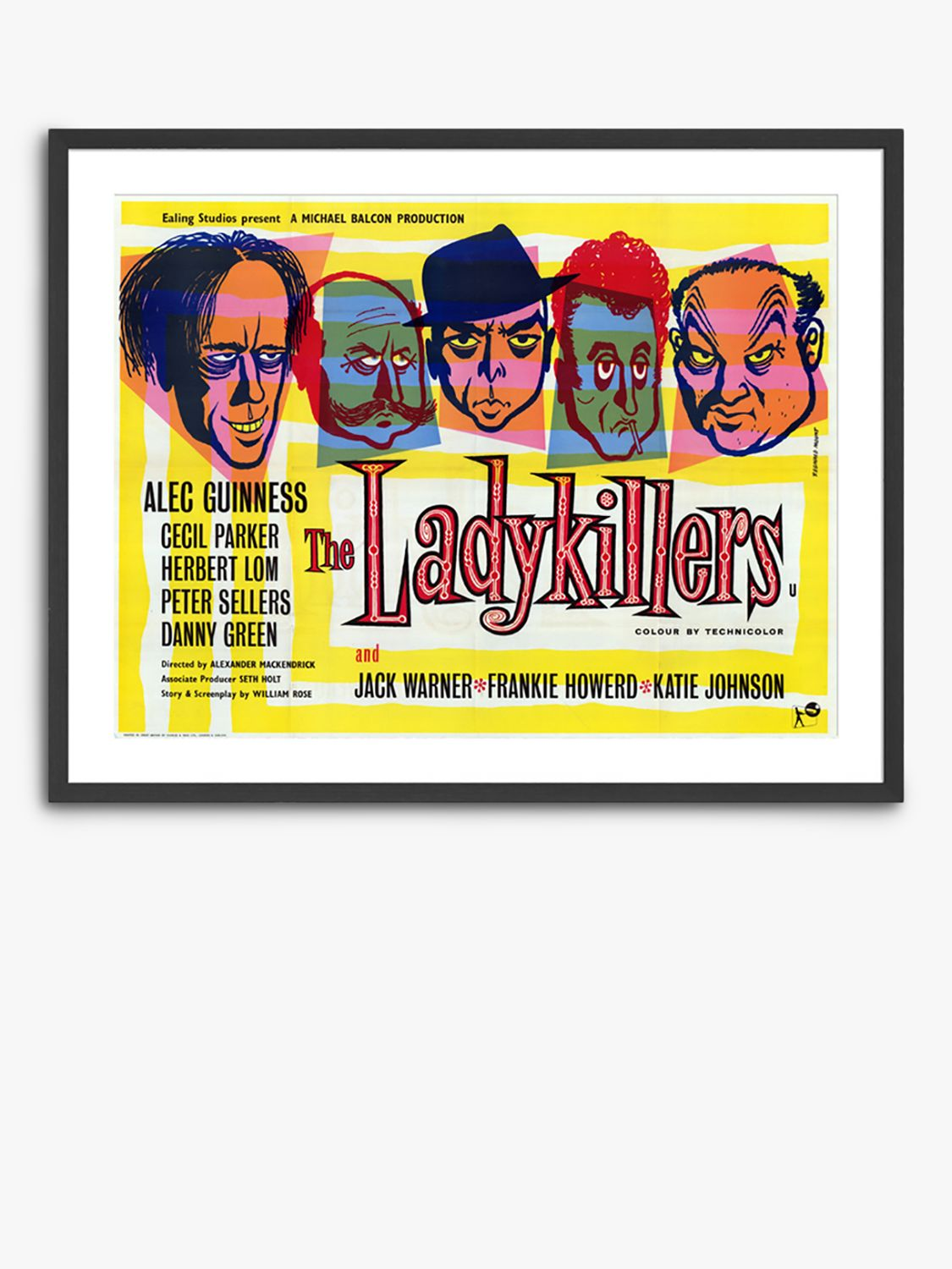 Unbranded The Ladykillers - Vintage Film Poster Ash Wood Framed Print & Mount, 82 x 62cm, Yellow