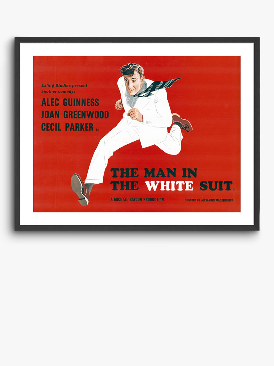 Unbranded The Man in the White Suit - Vintage Film Poster Ash Wood Framed Print & Mount, 82 x 62cm, Red