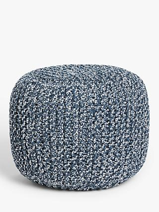 John Lewis & Partners Outdoor Knitted Pouffe, Navy