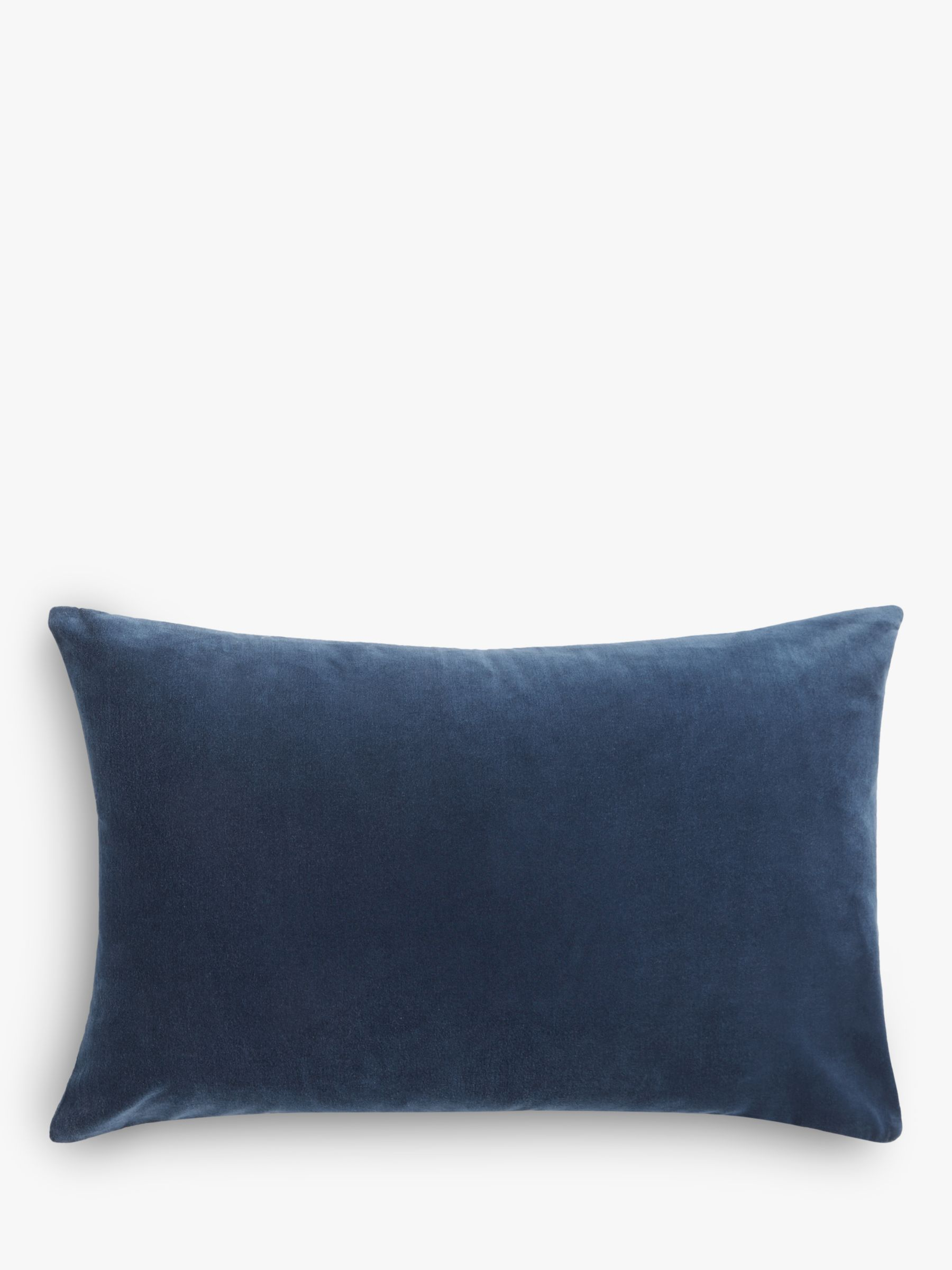 Buy John Lewis & Partners Rectangular Cotton Velvet Cushion, Navy Online at johnlewis.com