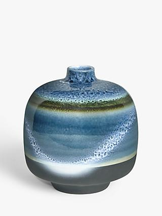 John Lewis & Partners Striped Glaze Vase, Blue, H20cm