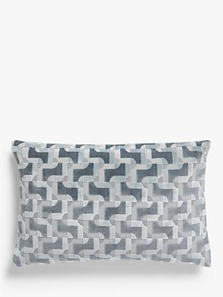 John Lewis & Partners Contemporary Cut Velvet Cushion, Powder Blue