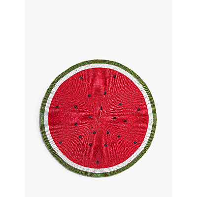 John Lewis & Partners Watermelon Beaded Placemat, Red