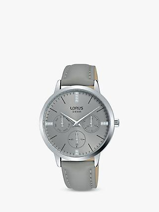 Lorus RP635DX9 Women's Single Chronograph Crystal Leather Strap Watch, Grey