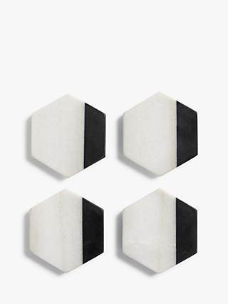 John Lewis & Partners Hexagonal Marble Coasters, Set of 4, Black/White