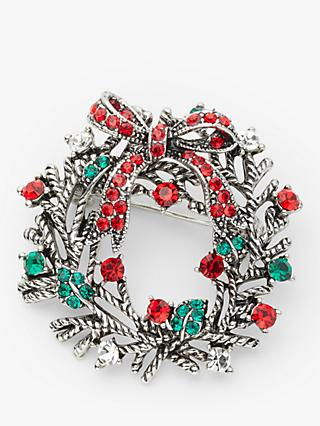 John Lewis & Partners Glass Crystal Christmas Wreath Brooch, Silver/Multi