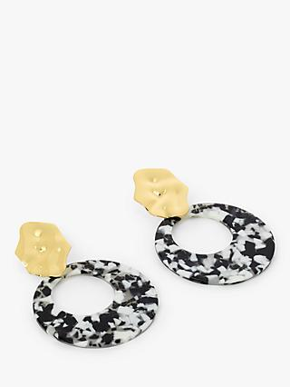 John Lewis & Partners Statement Resin Circle Drop Earrings, Black/White