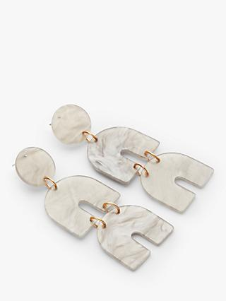 John Lewis & Partners Resin Triple Drop Earrings, Marble Grey