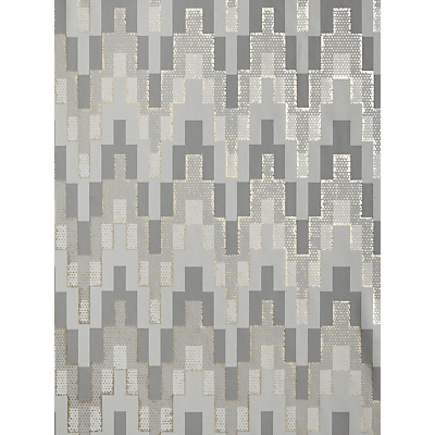 Image of John Lewis & Partners Geometric Tile Wallpaper, Grey