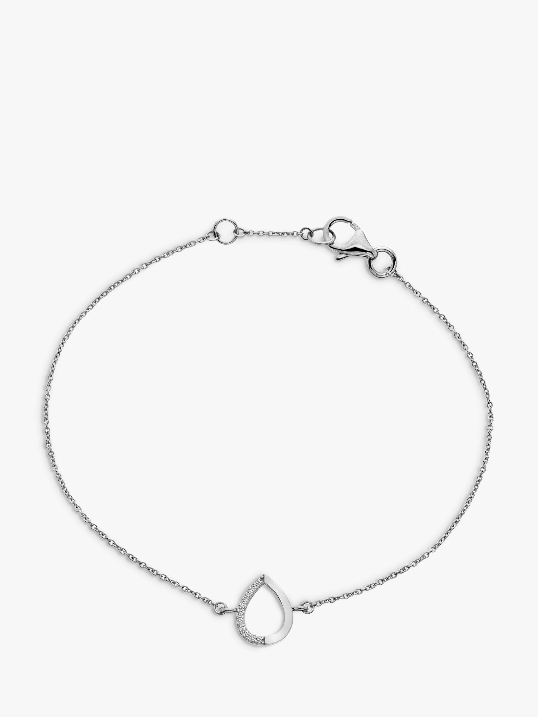 Hot Diamonds Hot Diamonds 9ct White Gold Teardrop Chain Bracelet