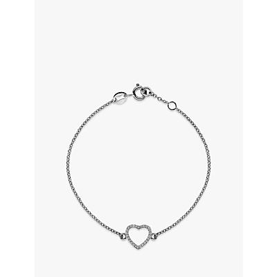 Image of            Hot Diamonds 9ct White Gold Ripple Heart Chain Bracelet