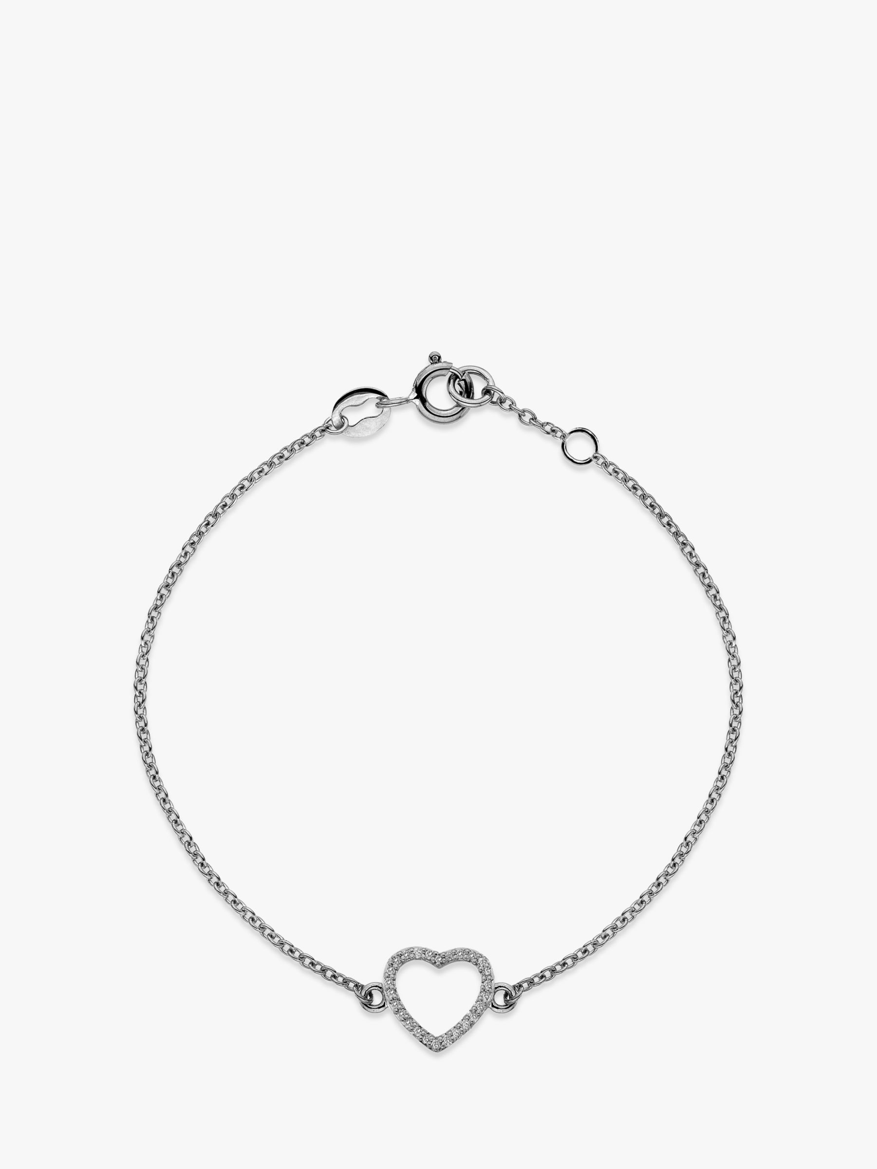Hot Diamonds Hot Diamonds 9ct White Gold Ripple Heart Chain Bracelet