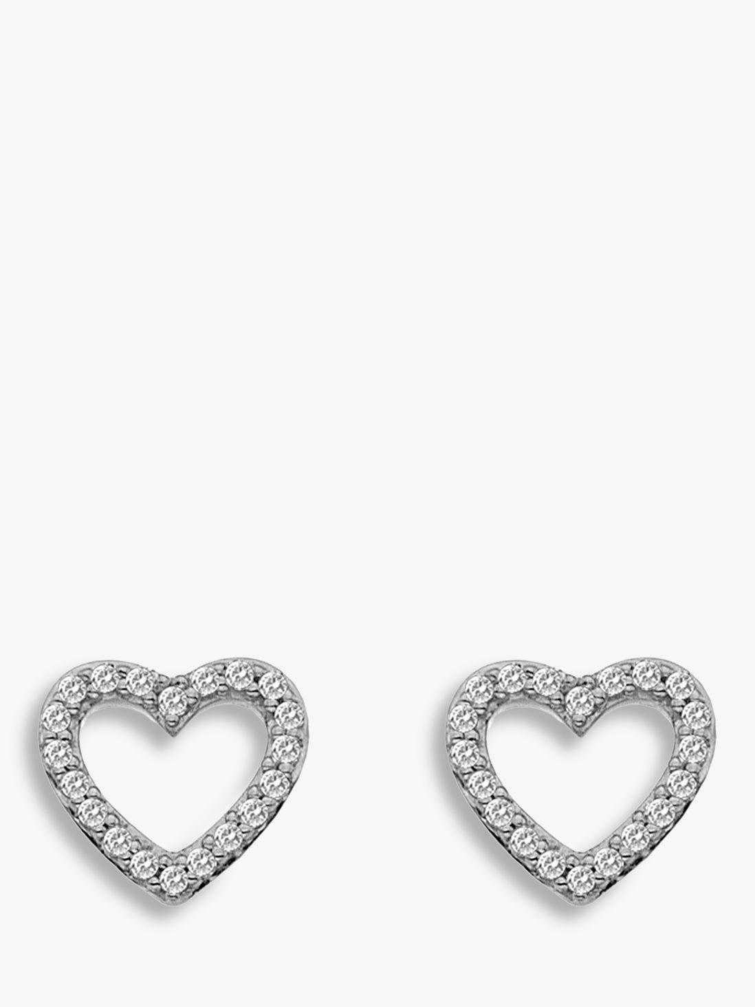 Hot Diamonds Hot Diamonds 9ct White Gold Ripple Heart Stud Earrings