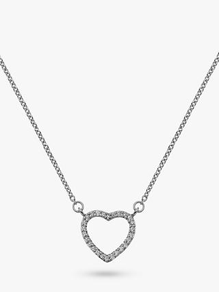 Hot Diamonds 9ct White Gold Ripple Heart Pendant Necklace