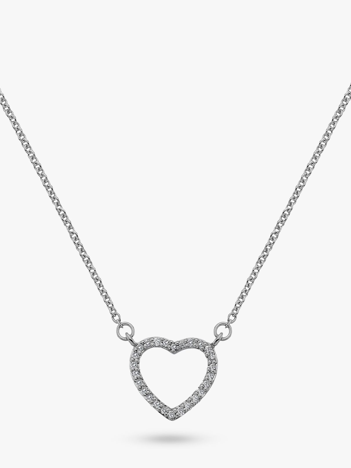 Hot Diamonds Hot Diamonds 9ct White Gold Ripple Heart Pendant Necklace
