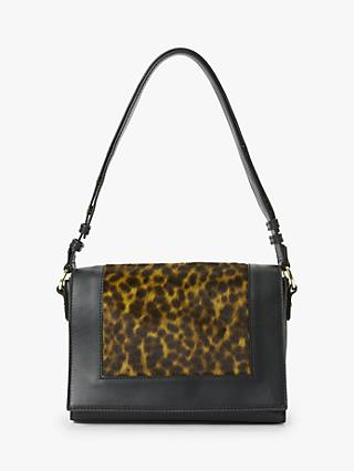 Boden Stamford Leather Multiway Cross Body Bag, Leopard/Black