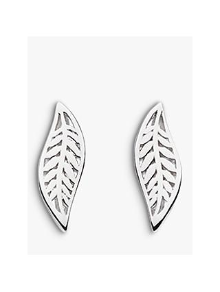 Kit Heath Blossom Leaf Stud Earrings, Silver