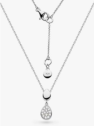 Kit Heath Cubic Zirconia Pebble Pendant Necklace, Silver