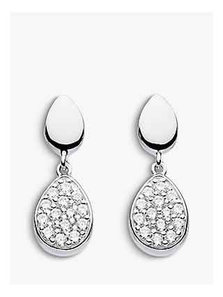 Kit Heath Cubic Zirconia Pebble Drop Earrings, Silver