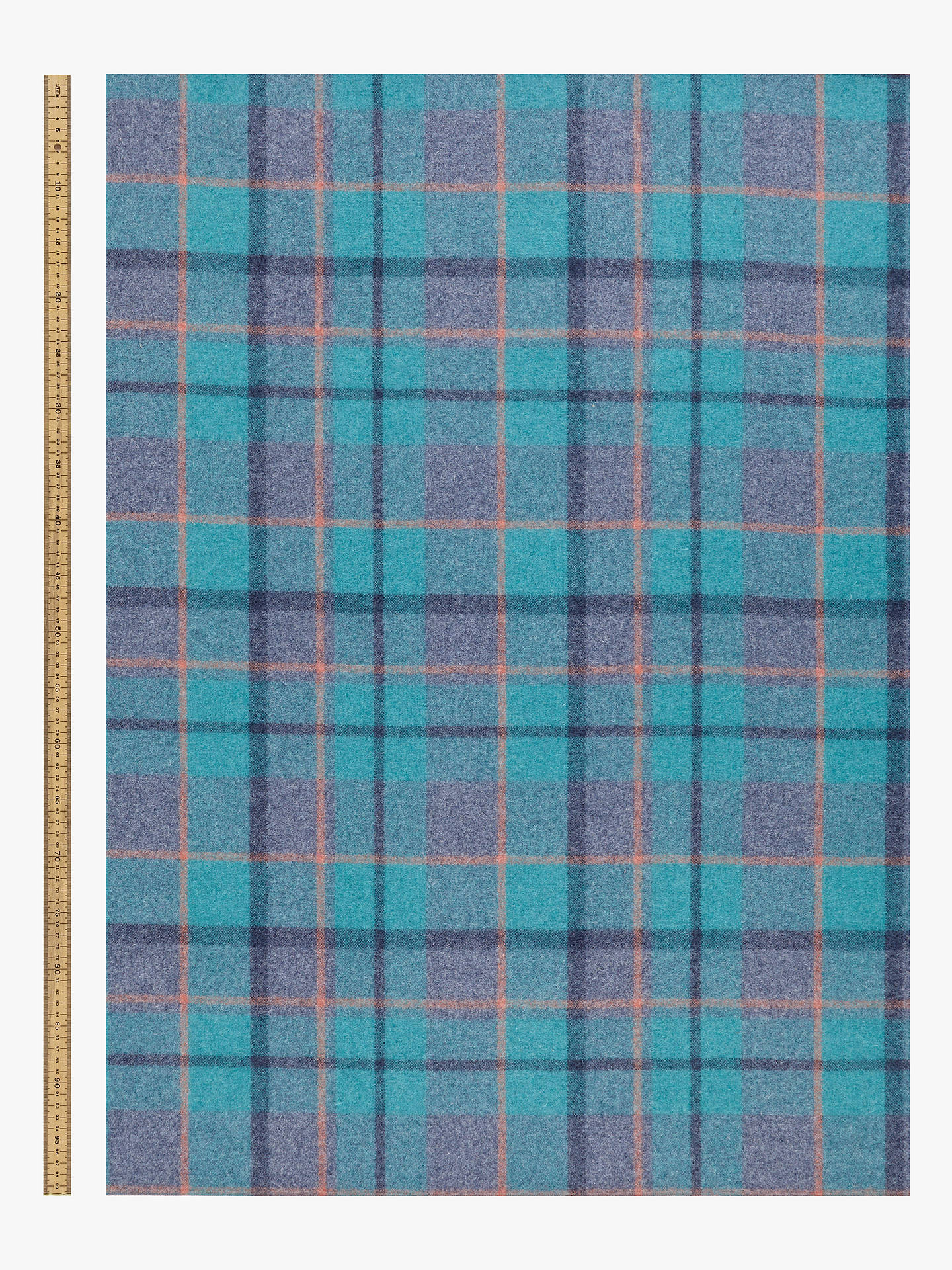 Buy John Lewis & Partners Wool Check Furnishing Fabric, Peacock Online at johnlewis.com